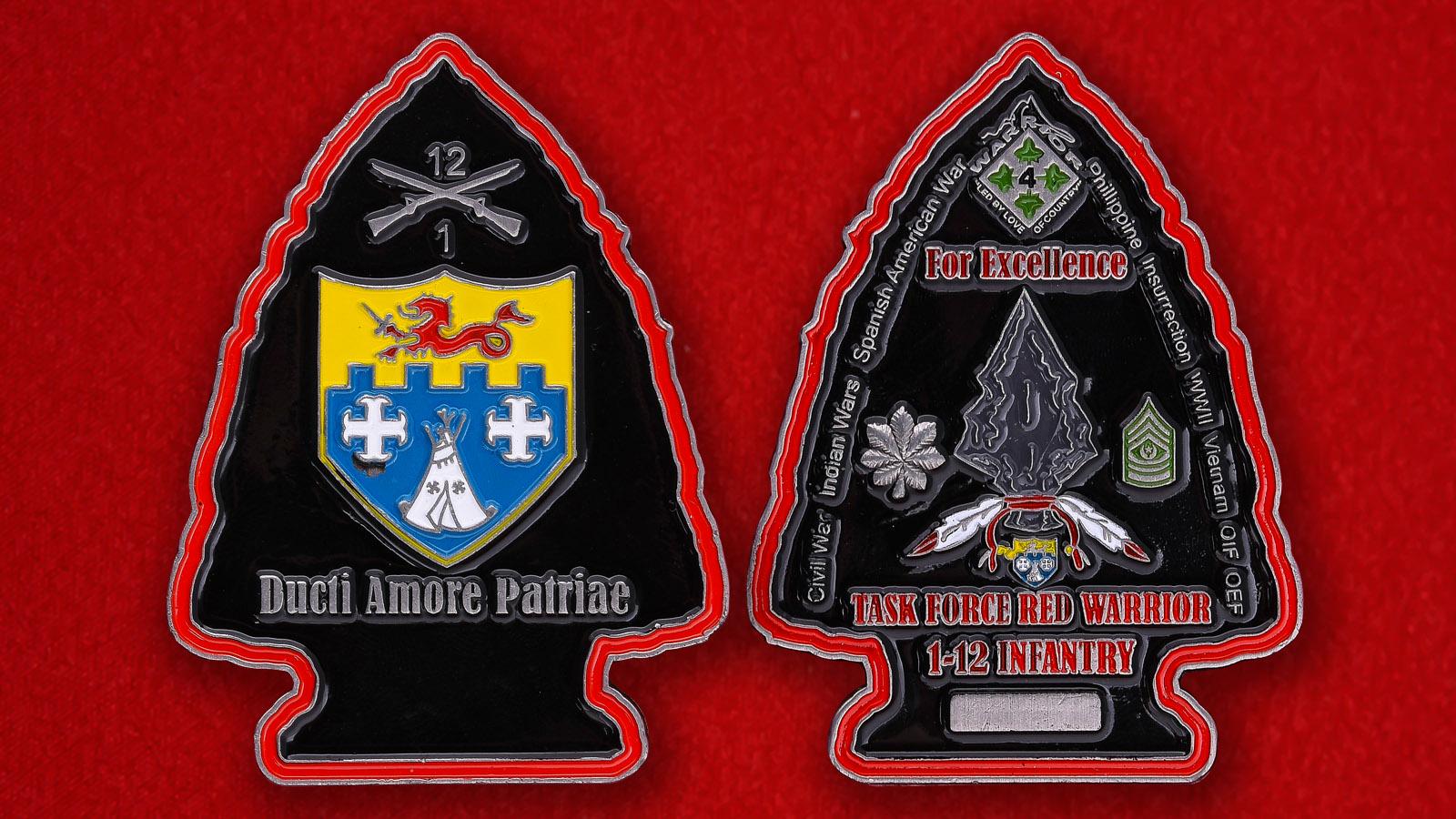 Челлендж коин 1-го батальона 12-го Пехотного полка Армии США