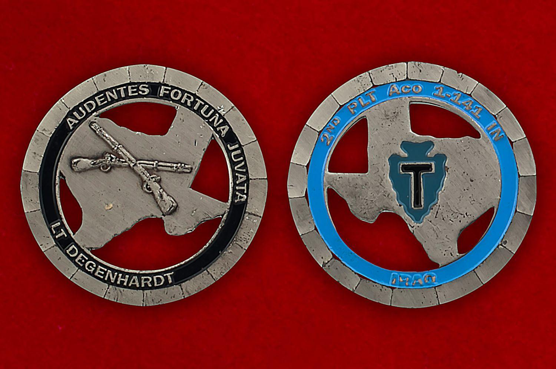 Челлендж коин 1-го батальона 141-го пехотного полка - аверс и реверс
