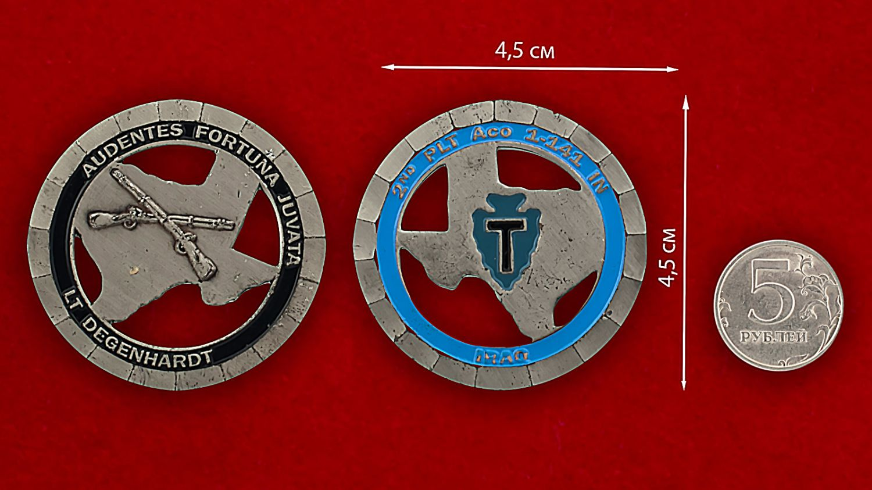 Челлендж коин 1-го батальона 141-го пехотного полка - сравнительный размер