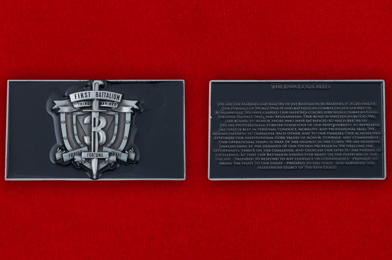 Челлендж коин 1-го батальона 3-го полка Корпуса Морской Пехоты США - аверс и реверс