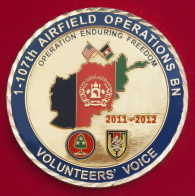 """Челлендж коин 1-го батальона (взлетно-посадочных операций) 107-го авиаполка Нацгвардии США """"За отличную службу во время операции Несокрушимая свобода"""""""