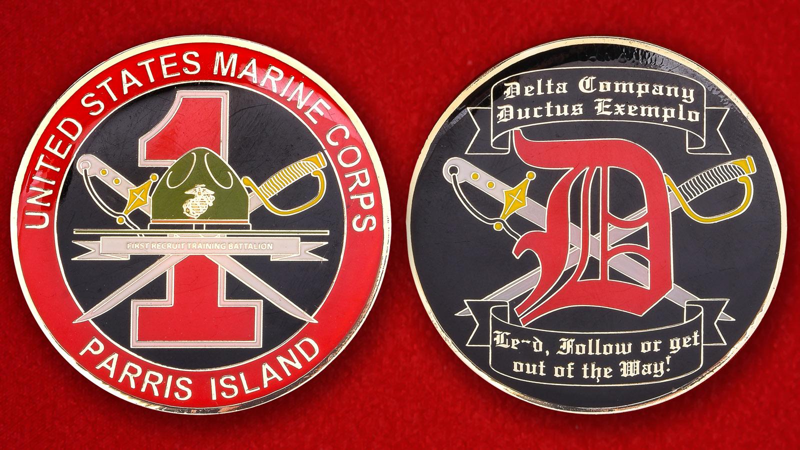 Челлендж коин 1-го Учебного батальона Корпуса Морской пехоты США