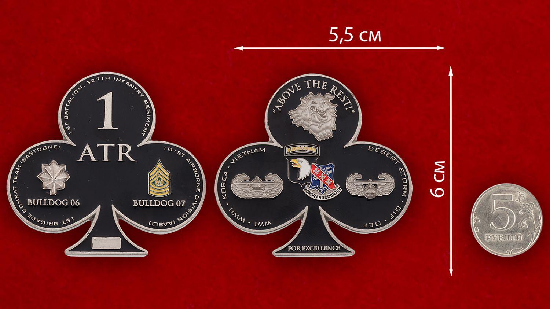 Челлендж коин 1-й Бригадной Тактической группы 101-й Дивизии ВДВ США - сравнительный размер