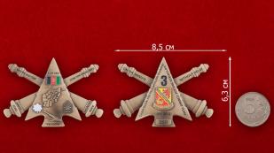 """Челлендж коин """"1-му батальону 37-го полка Полевой артиллерии за операцию Несокрушимая Свобода"""" - сравнительный размер"""