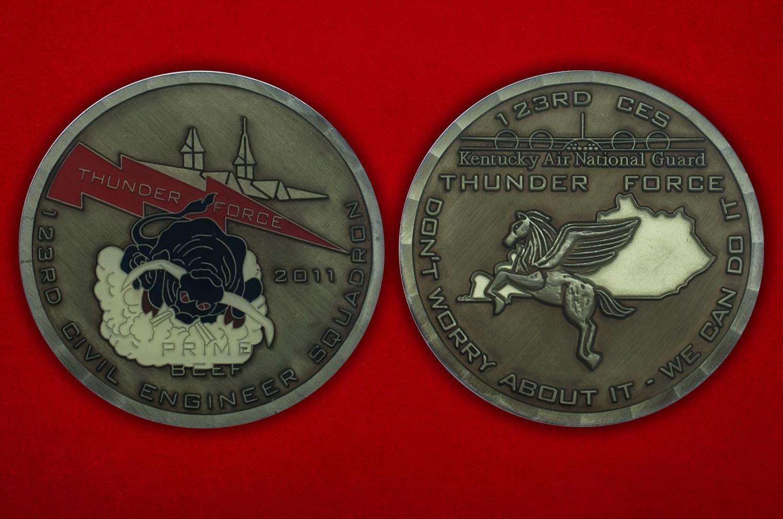 Челлендж коин 123-й Инженерн-строительной эскадрильи - аверс и реверс