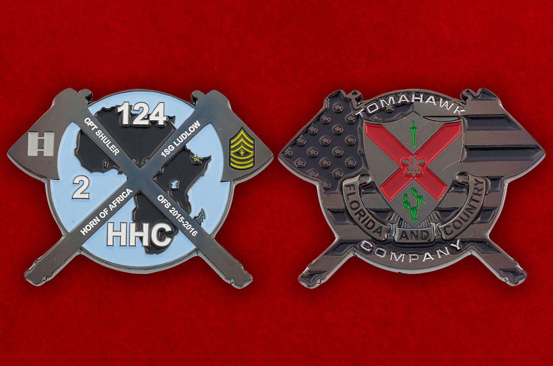 Челлендж коин 124-го Пехотного полка Нацгвардии США - аверс и реверс