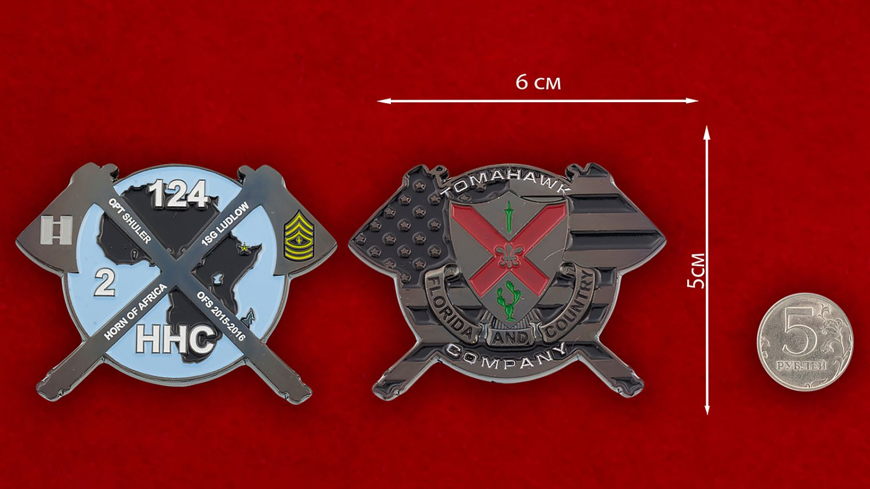 Челлендж коин 124-го Пехотного полка Нацгвардии США - сравнительный размер