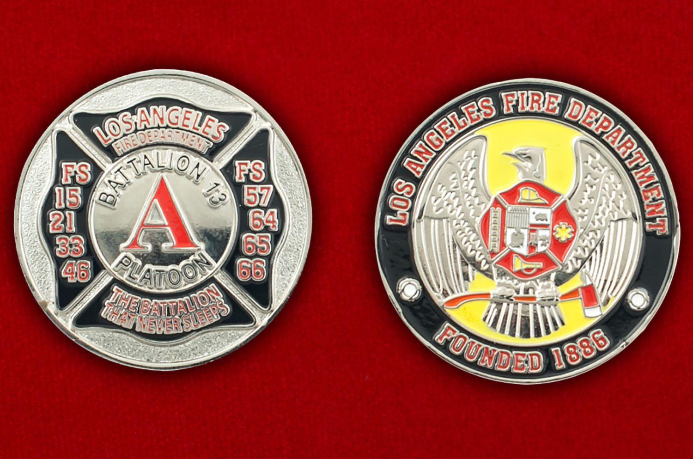Челлендж коин 13-го батальона Пожарной охраны Лос-Анджелеса - аверс и реверс