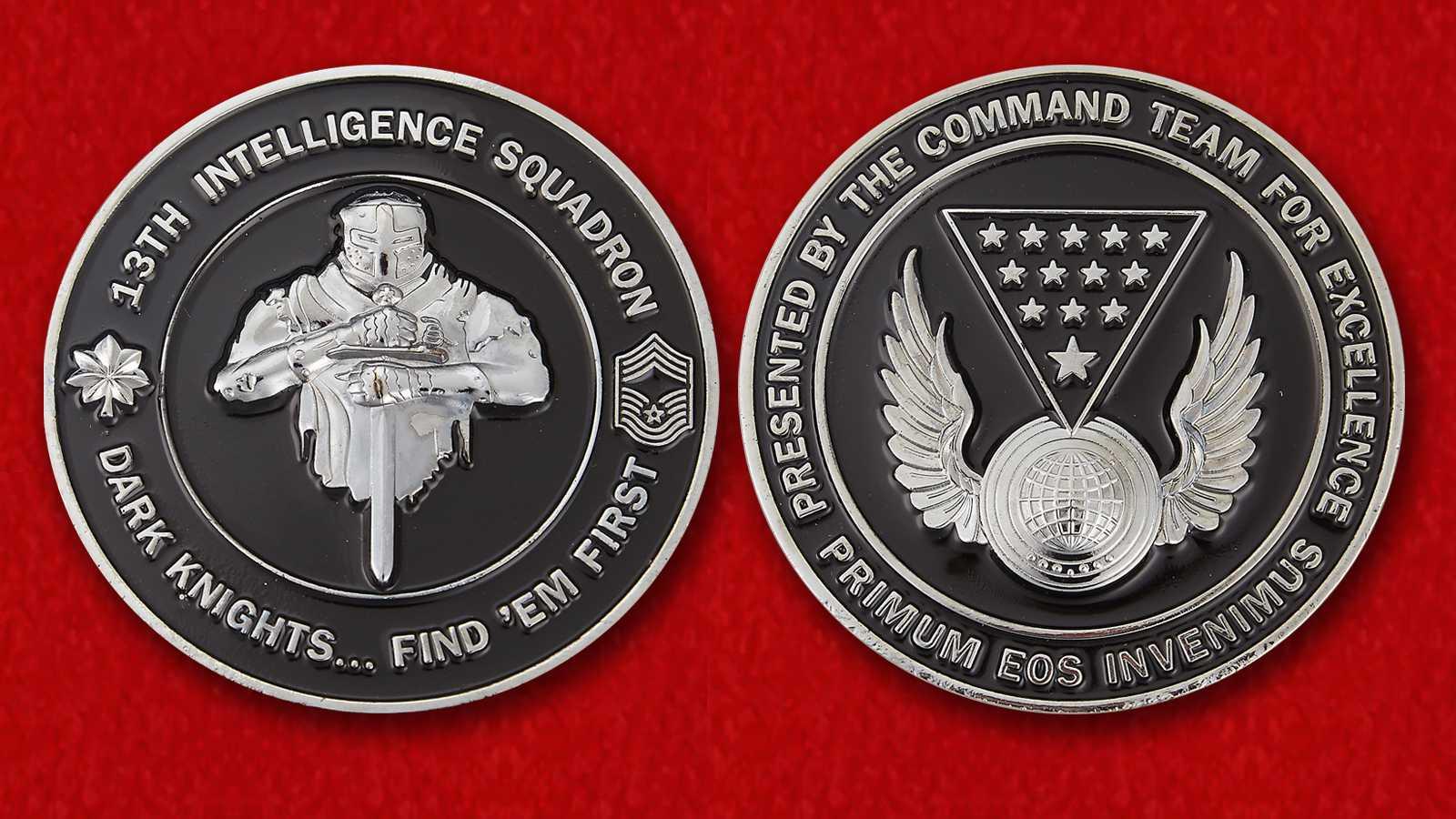 """Челлендж коин 13-й разведывательной эскадрильи ВВС США """"Темные рыцари"""""""