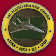 Челлендж коин 142-й ремонтно-сервисной группы ВВС Национальной гвардии Орегона