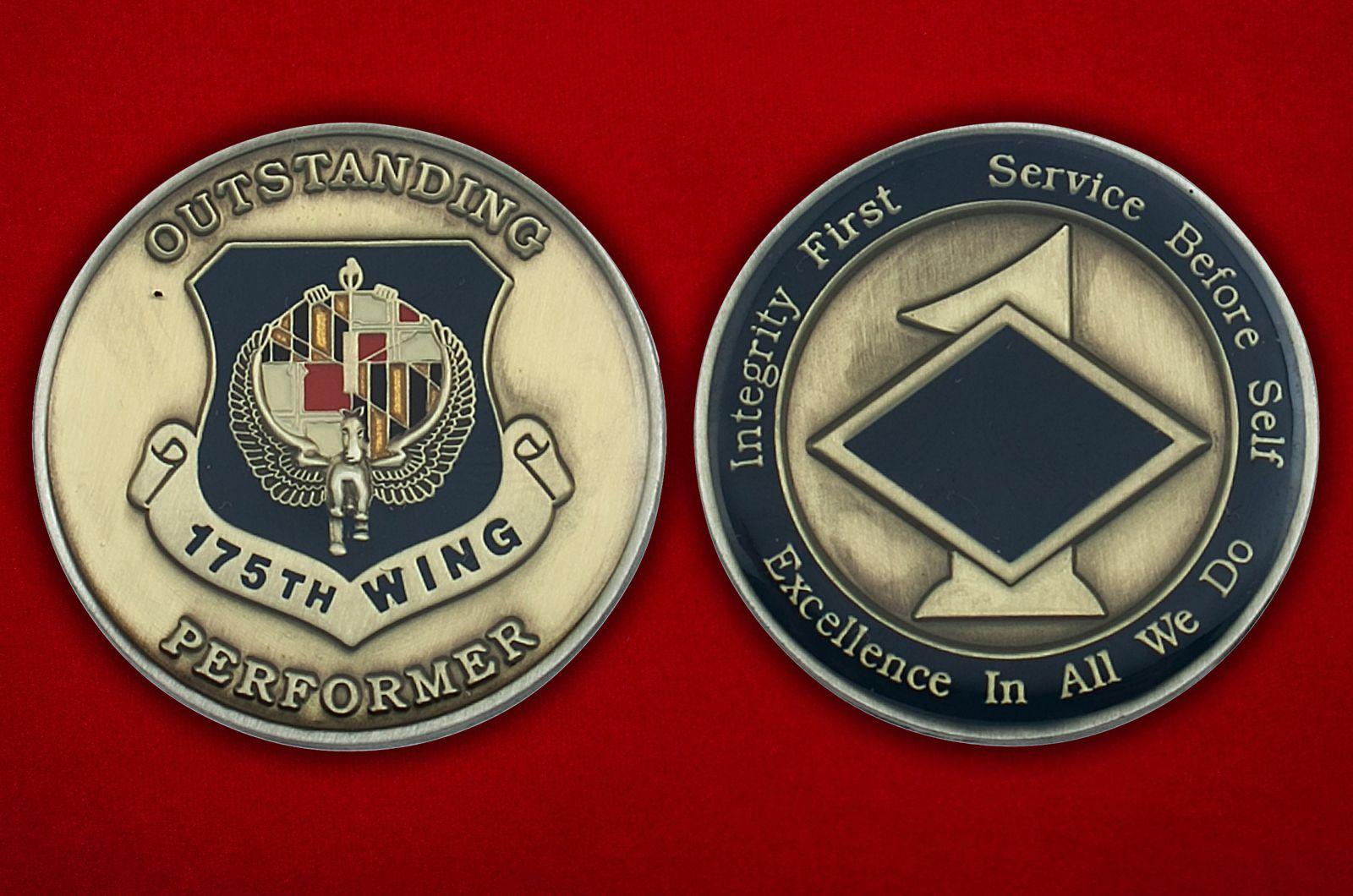 Челлендж коин 175-го авиакрыла ВВС США - аверс и реверс