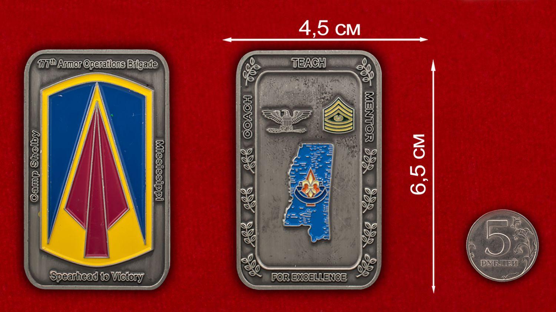 Челлендж коин 177-й бронетанковой бригады - сравнительный размер