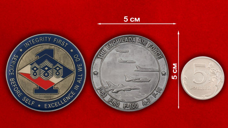 Челлендж коин 188-й эскадрильи ВВС Нацгвардии США (штат Нью-Мексико) - сравнительный размер