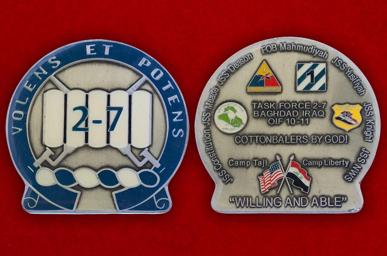 Челлендж коин 2-го батальона 7-го Пехотного полка Армии США - аверс и реверс