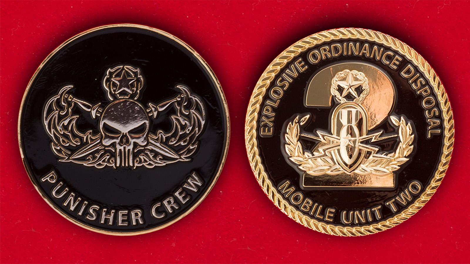 Челлендж коин 2-го мобильного саперного отряда ВМС США - аверс и реверс