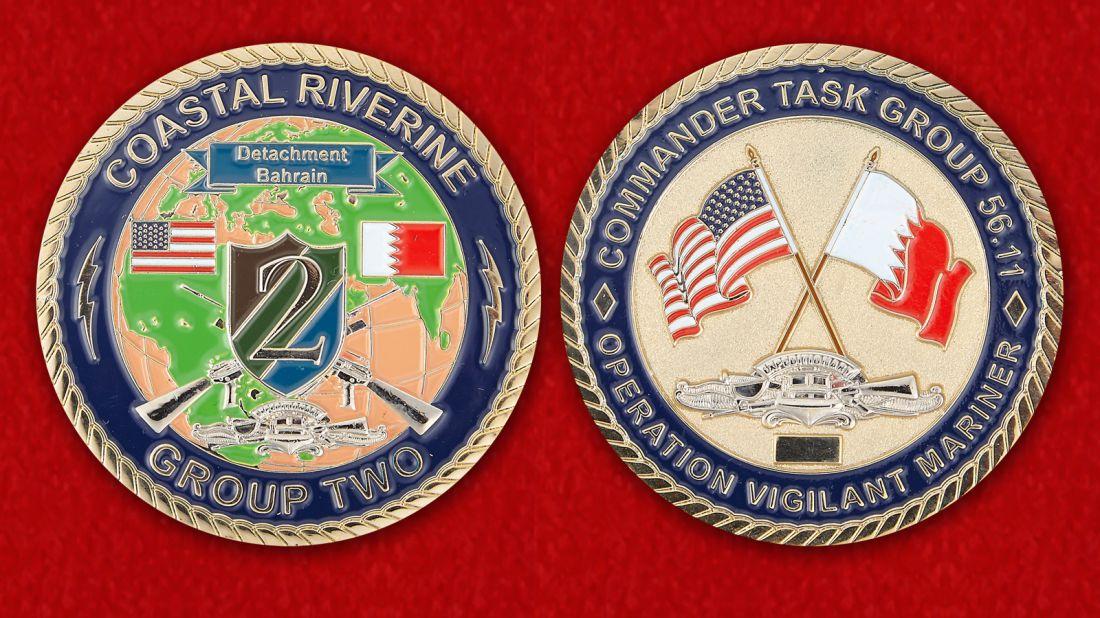 Челлендж коин 2-й Экспедиционной группы Береговой обороны ВМС США в Бахрейне - аверс и реверс
