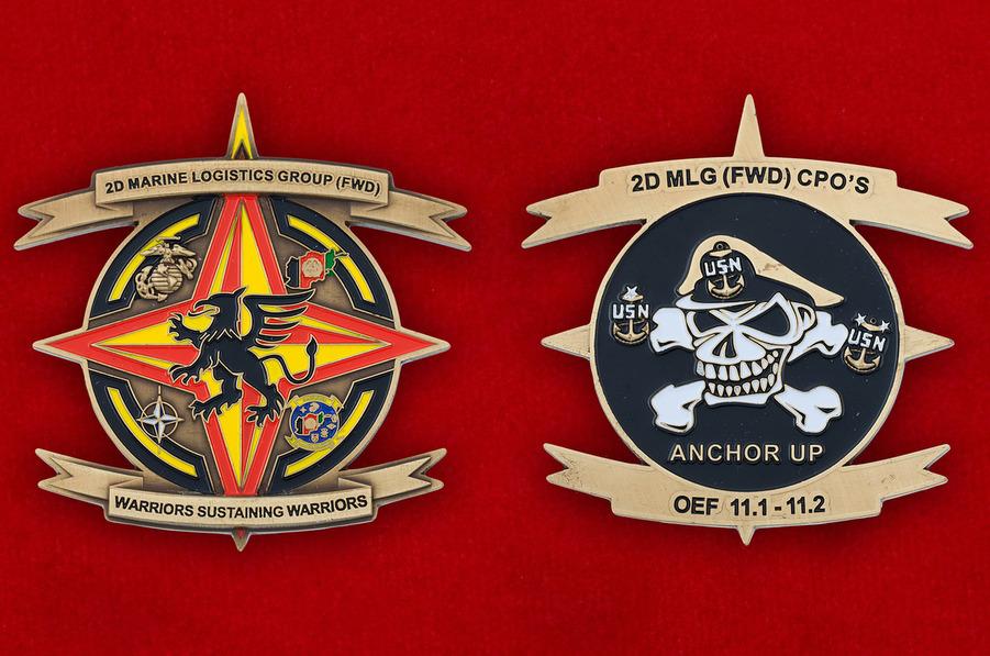 Челлендж коин 2-й Группы материально-технического обеспечения Корпуса Морской Пехоты США - аверс и реверс