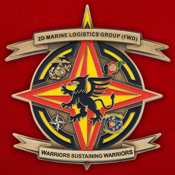 Челлендж коин 2-й Группы материально-технического обеспечения Корпуса Морской Пехоты США