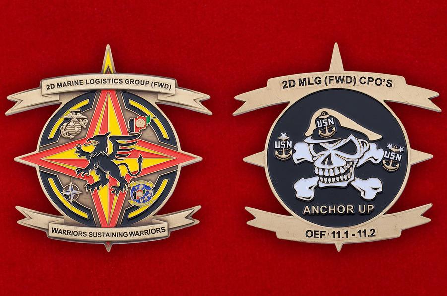 Челлендж коин 2-й Группы Службы материально-технического обеспечения Корпуса Морской Пехоты США - аверс и реверс