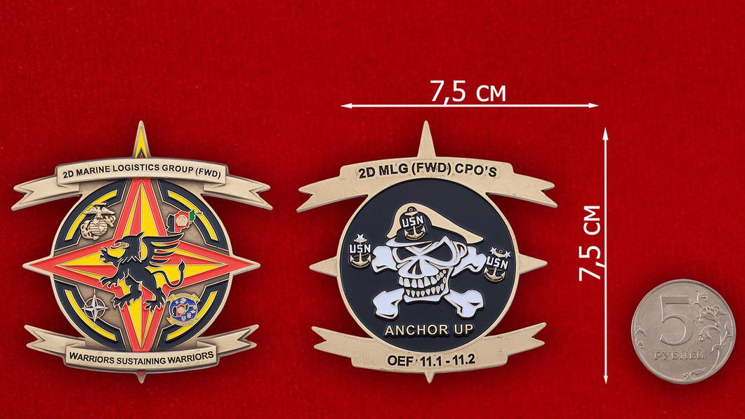 Челлендж коин 2-й Группы Службы материально-технического обеспечения Корпуса Морской Пехоты США - сравнительный размер