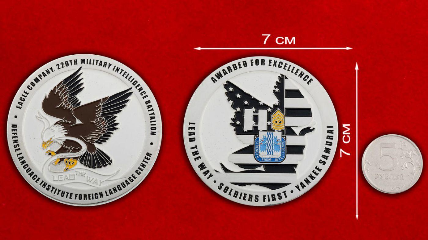 Челлендж коин 229-го батальона Военной разведки Армии США - сравнительный размер