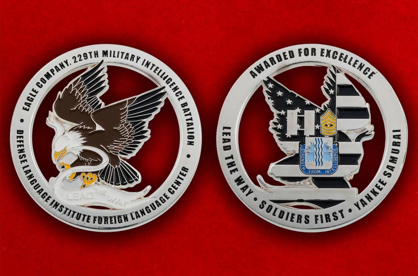 """Челлендж коин """"229-й Батальон Военной разведки Армии США"""" - аверс и реверс"""