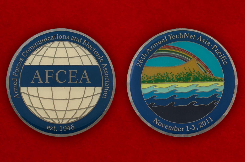 Челлендж коин 26-й выставки средств связи и эдлектроники ВС США в Тихоокеанском регионе - аверс и реверс