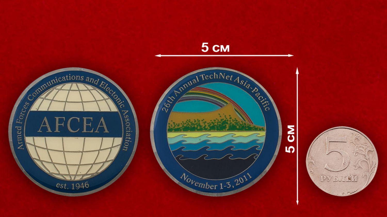 Челлендж коин 26-й выставки средств связи и эдлектроники ВС США в Тихоокеанском регионе - сравнительный размер