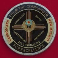 """Челлендж коин """"За отличие"""" от командира 27-й эскадрильи Командования специальных операций ВВС США, авиабаза Кэннон"""