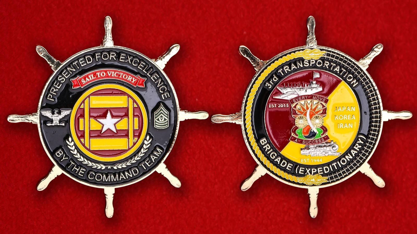 """Челлендж коин """"3-ей Транспортной Экспедиционной бригаде армии США от командования"""""""