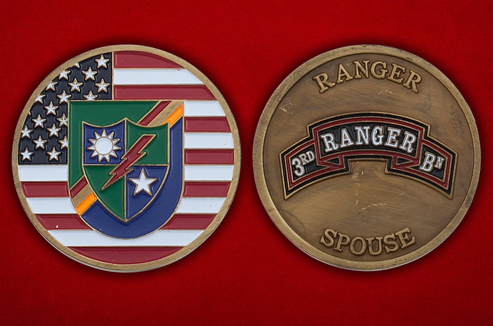 Челлендж коин 3-го батальона рейнджеров - аверс и реверс