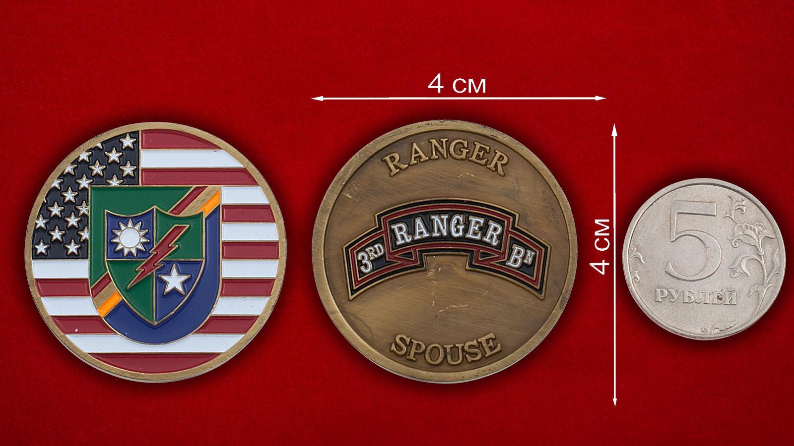 Челлендж коин 3-го батальона рейнджеров - сравнительный размер