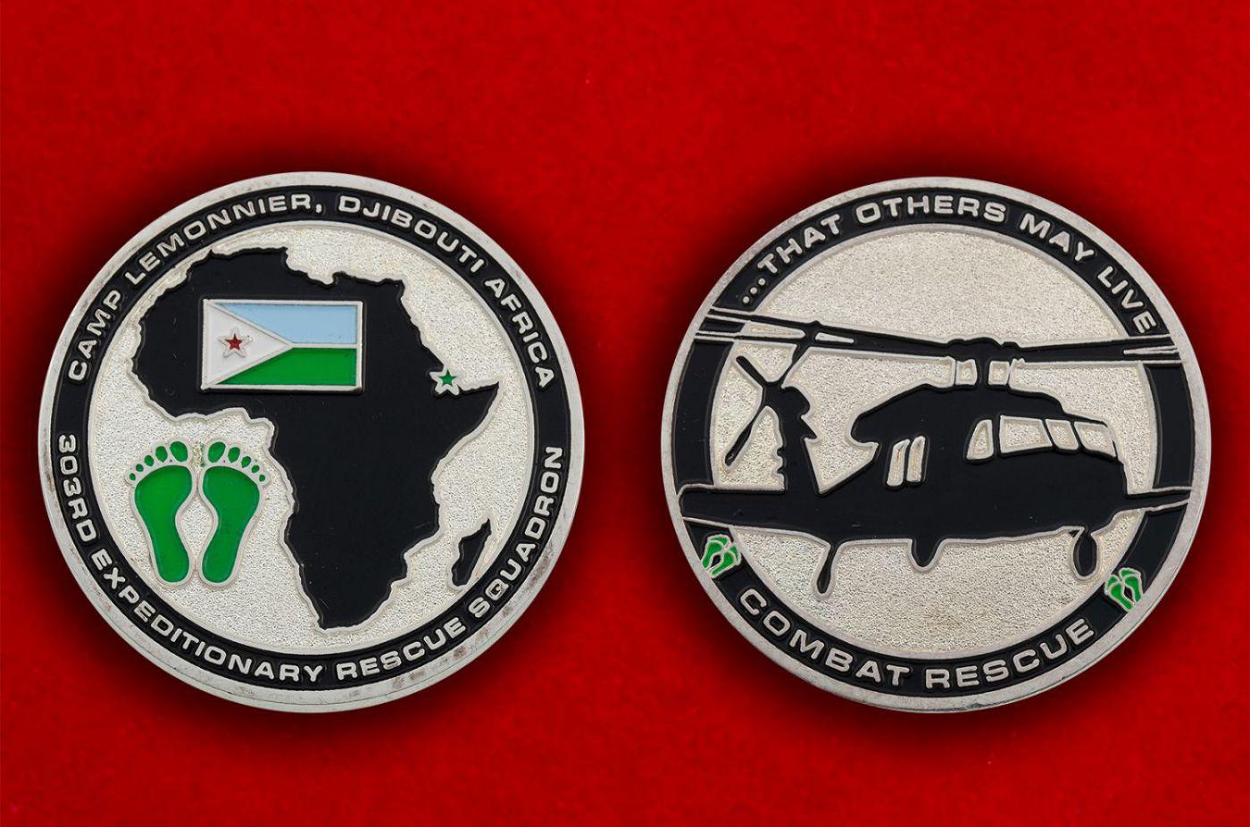 Челлендж коин 303-й Экспедиционой спасательной эскадрильи ВВС США - аверс и реверс
