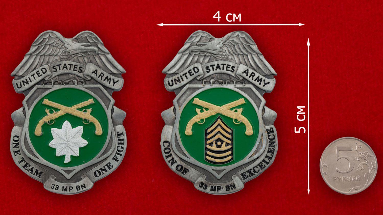 Челлендж коин 33-го батальона Военной полиции Армии США - сравнительный размер