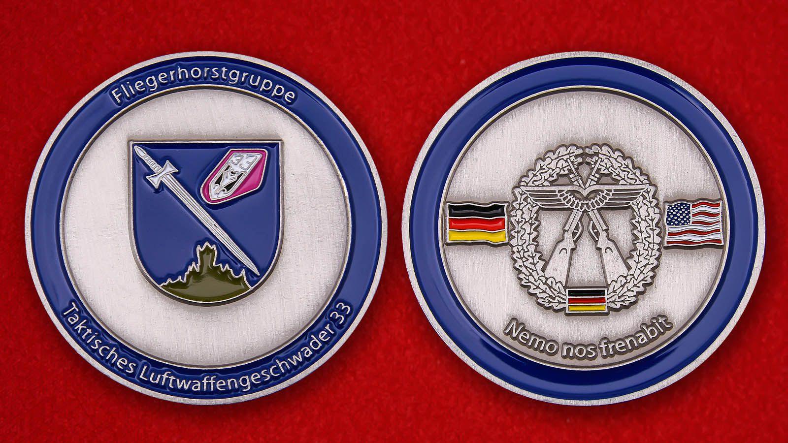 Челлендж коин 33-й тактической эскадрильи ВВС Германии - аверс и реверс