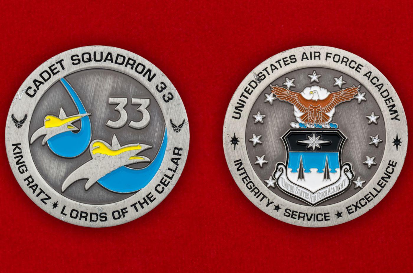Челлендж коин 33-й Учебной эскадрильи Академии ВВС США - аверс и реверс