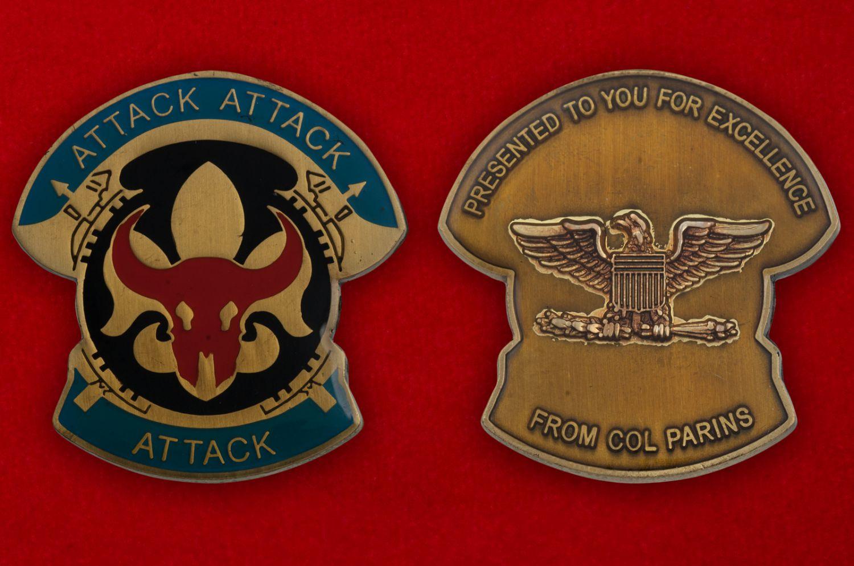 Челлендж коин 34-й Пехотной дивизии Армии США - аверс и реверс
