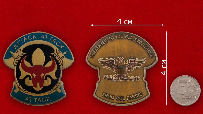 Челлендж коин 34-й Пехотной дивизии Армии США - сравнительный размер