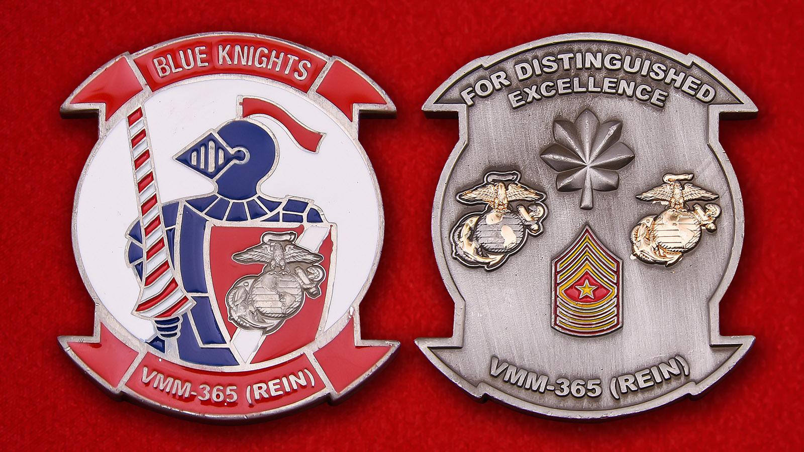 """Челлендж коин 365-й сдерживающей эскадрильи Корпуса морской пехоты США """"Голубые рыцари"""""""