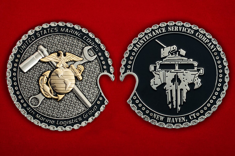 Челлендж коин 4-й Группы материально-технического обеспечения Корпуса Морской пехоты США - аверс и реверс