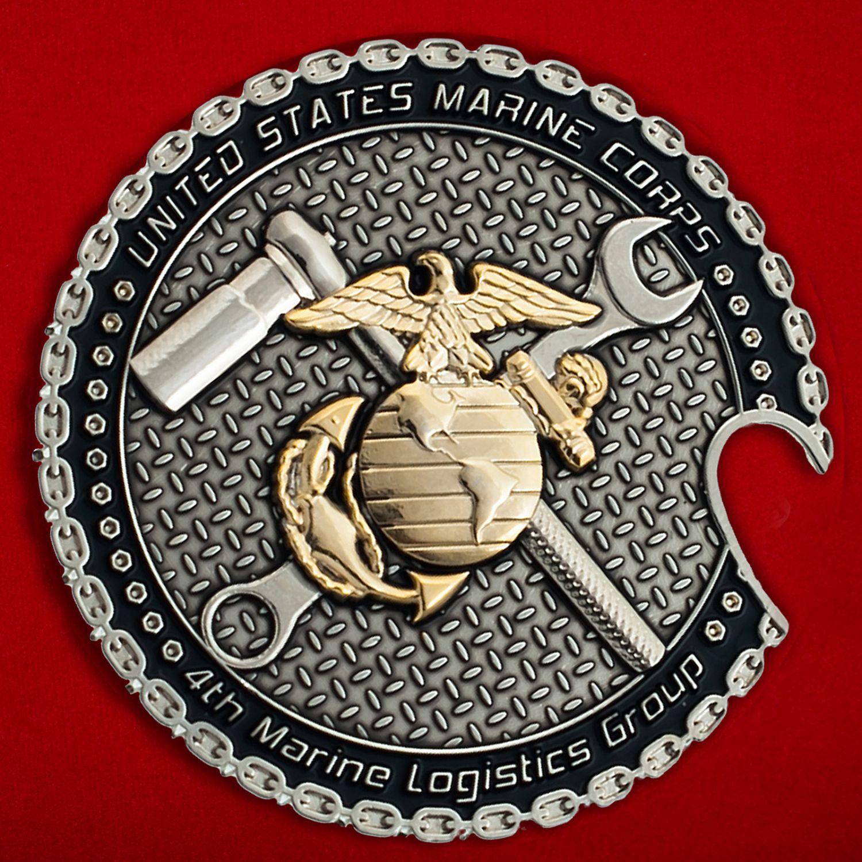 Челлендж коин 4-й Группы материально-технического обеспечения Корпуса Морской пехоты США