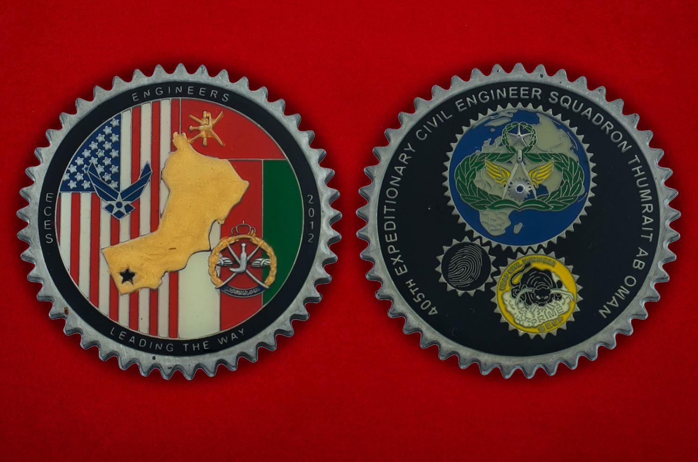 Челлендж коин 405-й Экспедиционной Инженерно-строительной эскадрильи ВВС США - аверс и реверс