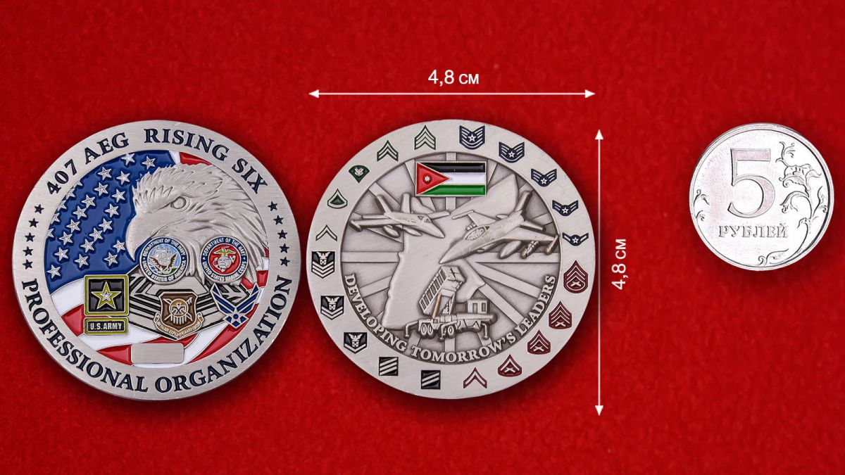 407TH Air Expeditionary Group Challenge Coin - comparative size
