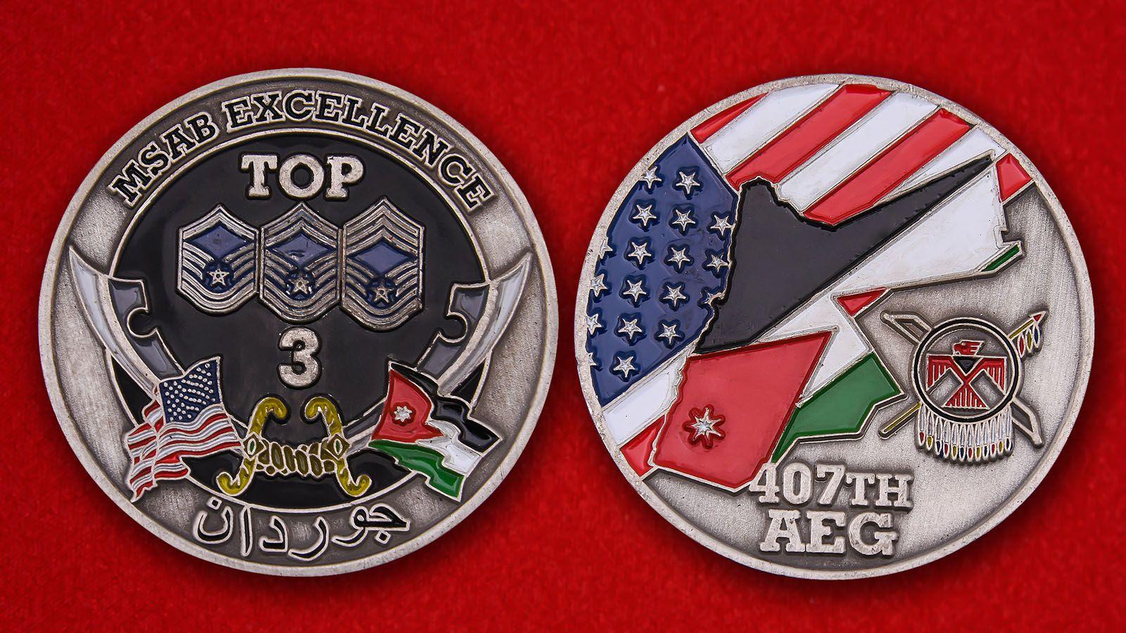 Челлендж коин 407-й экспедиционной авиагруппы ВВС США - аверс и реверс