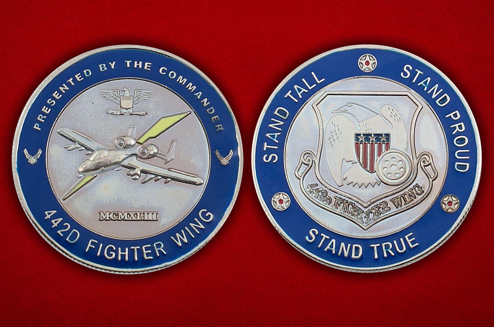 """Челлендж коин """"442-му Истребительному авиакрылу от командования"""" - аверс и реверс"""