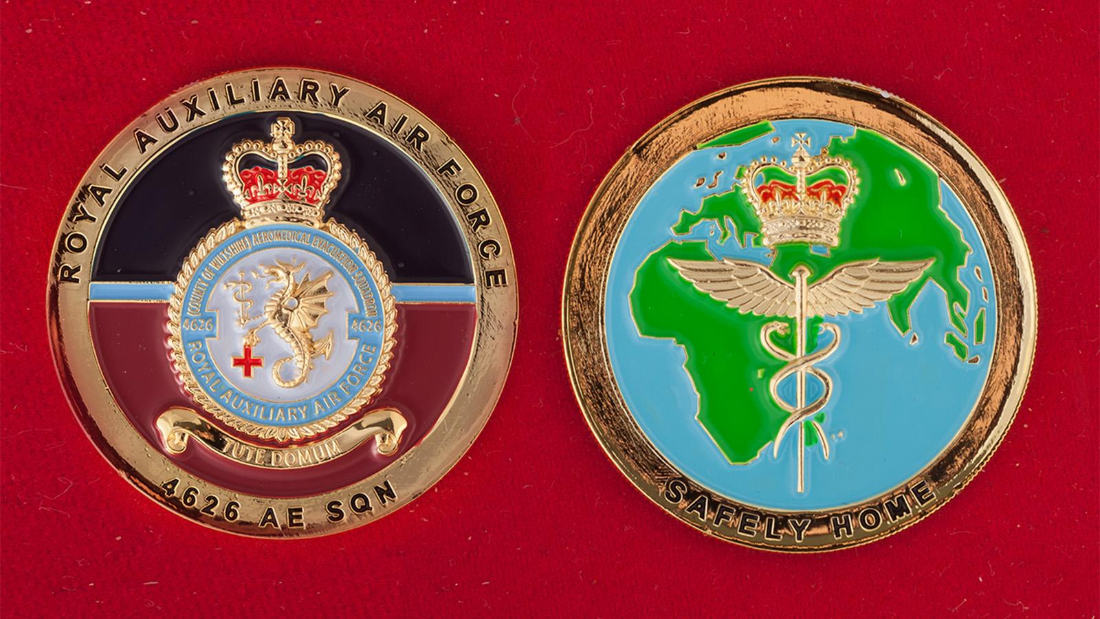 Челлендж коин 4626-й вспомогательной эскадрильи Королевских ВВС Великобритании - аверс и реверс