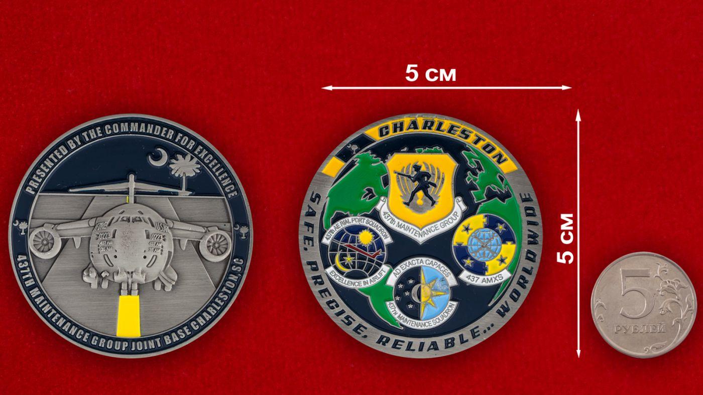 Челлендж коин 473-й группы технического обслуживания авиабазы Чарльстон - сравнительный размер