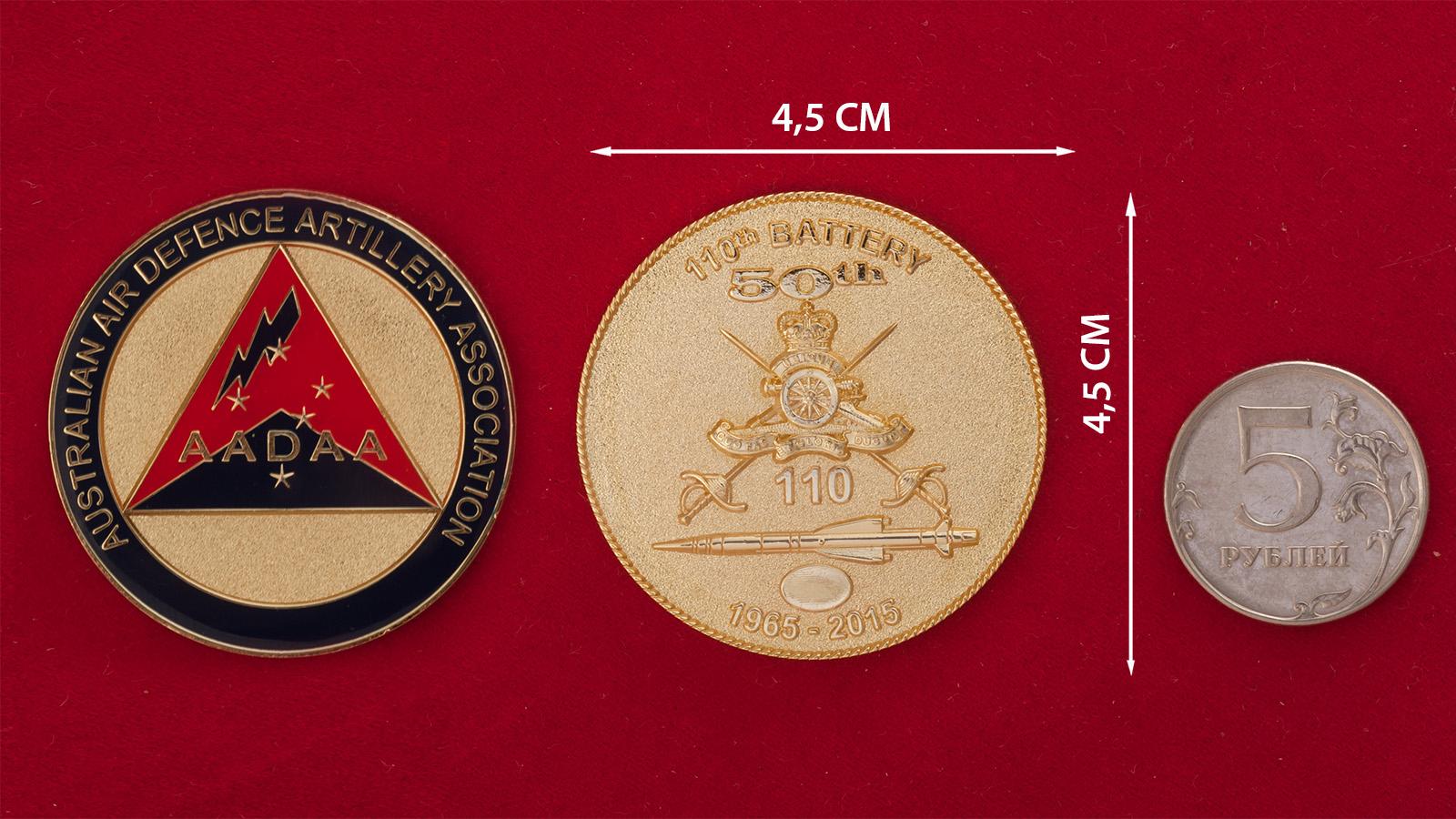 """Челлендж коин """"50 лет 110-й батарее ПВО Армии Австралии"""" - сравнительный размер"""