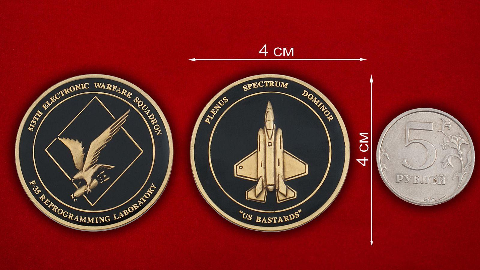 Челлендж коин 513-й эскадрильи радиоэлектронной борьбы ВВС США - сравнительный размер