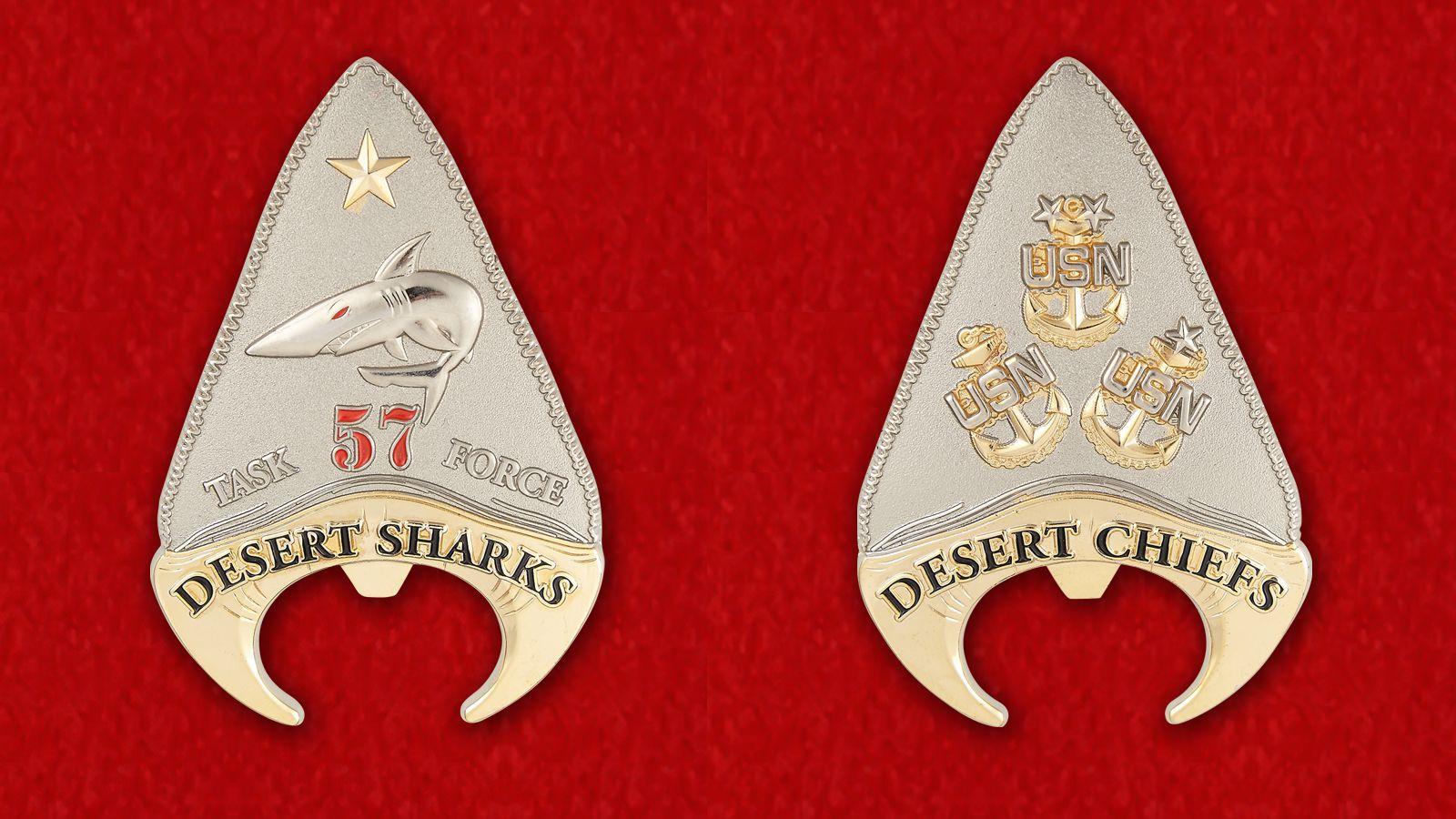 """Челлендж коин 57-й Тактической группы Морской авиации """"Пустынные акулы"""" - аверс и реверс"""